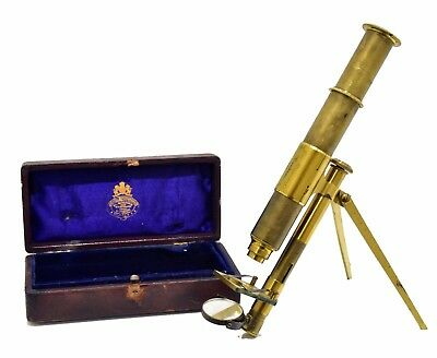 Antique brass pocket Moginie-type microscope by John Browning, London, 1874-5