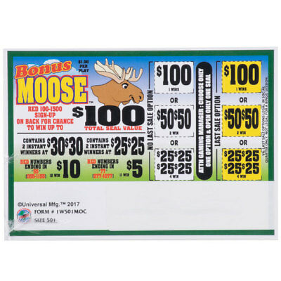 """Bonus Moose""  1 Window Pull Tab 501 Tickets Payout  $385"