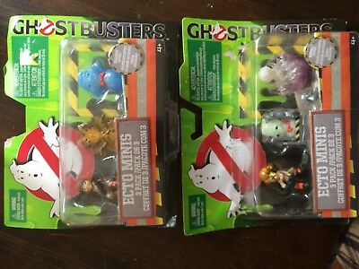 Lot of 2 GHOSTBUSTERS ECTO MINIS 3-PACK EXCLUSIVE FIGURES NEW In damaged packs