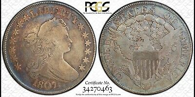 Rare 1807 Draped Bust Silver  Half Dollar PCGS Secure F12