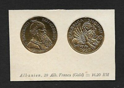 Albania Coin Card by Greiling Germany 1929 - 1927 20alb Gold THIS IS NOT A COIN