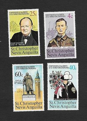St.Christopher Nevis Anguilla 1953 Birth Centenary of Sir W. Churchill 4v MNH