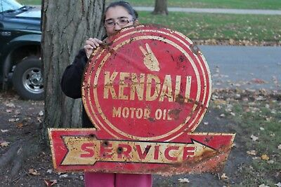 "Rare Vintage 1940's Kendall Motor Oil Service Gas Station 2 Sided 36"" Metal Sign"