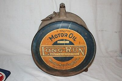 Large Vintage 1928 Long-Run 5 Gallon Metal Rocker Oil Can Gas Station Sign