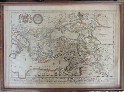 Uncommon antique Blome map 1669 Ottoman Turkish Empire in Asia and Europe Levant