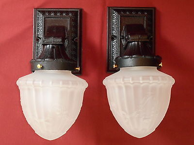 1910s ARTS & CRAFTS PORCH SCONCE PR W/ GLASS SHADES