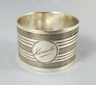 """Unique Sterling Silver Napkin Ring 1912 Chester England 30 grams """" Kenneth """""""