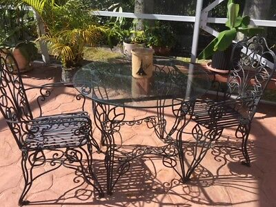 Vintage Salterini Style Wrought Iron ornate glass top table with 2 arm chairs