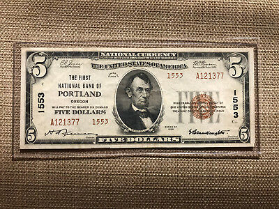 1929 $5 National Banknote Portland Oregon Ch.1553 Type 2