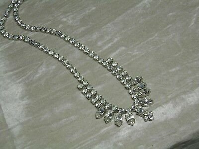Vintage Very Pretty clear Stone set in Silver Colour metal  Rhinestone Necklace