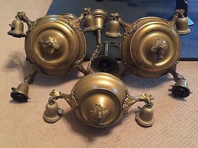 Antique Brass Pan Lights Chandeliers - Set of 3 - 4, 4, and 2-arm
