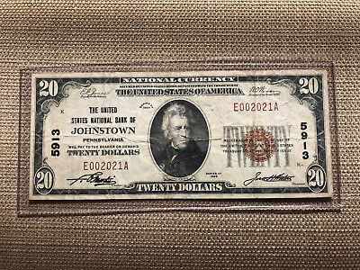 1929 $20 United States Bank Of Johnstown Pennsylvania Ch.5913