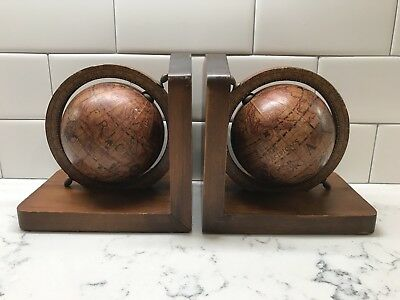 Vintage Bookends Old World Globe Wooden Nice Italian Made Antique