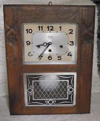 French wooden cased chime pendulum clock. Art Deco? Westminster wall clock & key