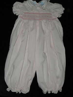 Vintage Bright Future Smocked Embroidered Romper Longall Lace Batiste 6-9M Evc