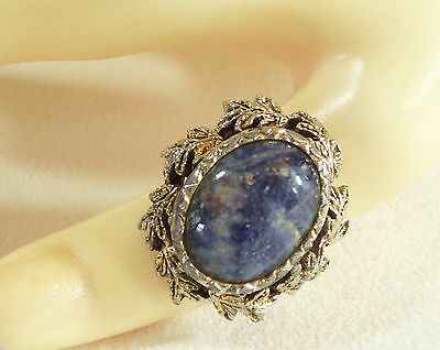 Marbled BLUE Oval Cab Ring Antiqued Silver Plate Leaves Frame Adjustable Vintage