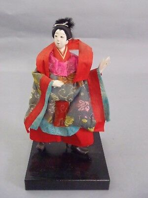 """Carved Wooden """"beautiful Lady"""" With Red Scarf Dancing, Early 1900S #25"""