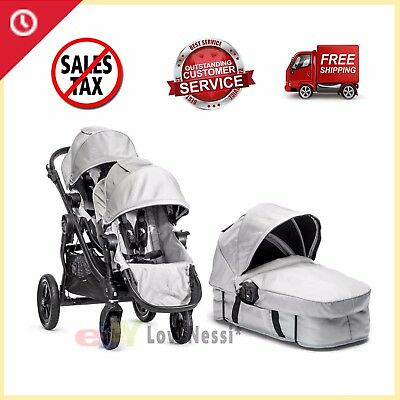 Baby Jogger City Select Twin Double Stroller Silver OPTIONAL 2nd Seat & Bassinet