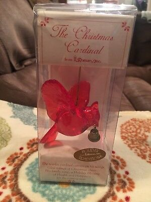 "HOLIDAY TRADITIONS CHRISTMAS CARDINAL BIRD w/BELL 3""H from R.R. ROMAN, INC 78797"