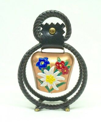 """Swiss Cowbell Miniature; Rod Iron Stand; Approx. 4""""h x 3""""w; Painted Flowers !!!"""