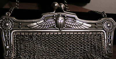 Antique EGYPTIAN REVIVAL Silver Mesh PURSE Winged SCARAB BEETLE ARTS & CRAFTS