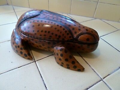 Hand Carved Wooden Puerto Rican Coqui Frog Box