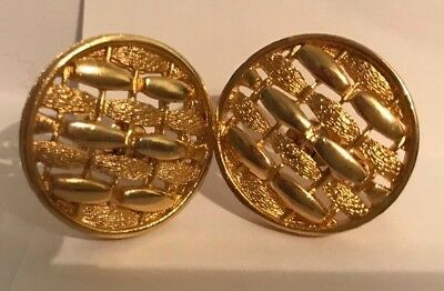 Sarah Coventry Gold Tone Round Weave Effect Earrings - VGC - Offers