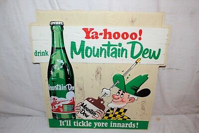 "Rare Vintage 1960's Mountain Dew Soda Pop Gas Station 18"" Embossed Sign~Nice"