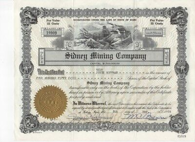 Vintage Stock Certificate of the Sydney Mining Company