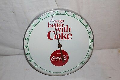 "Vintage 1950's Coca Cola Soda Pop Gas Station 12"" Metal Thermometer Sign~Nice"