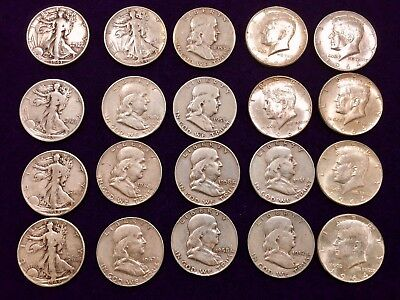 Half Dollar Silver Various Years Franklin Liberty Kennedy Set of 20 - Beautiful!