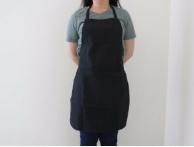 Plain Black Apron Full Bib I Polyester/Cotton I Kitchen, Dinner, Cafe I Bulk Buy