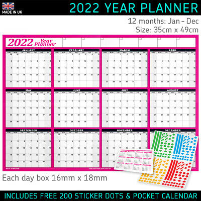 2020 Yearly Planner Annual Wall Chart Year Planner in PINK + FREE Desk Calendar
