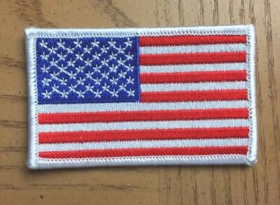 AMERICAN FLAG EMBROIDERED PATCH iron-on WHITE BORDER US UNITED STATES 3.25x2 in