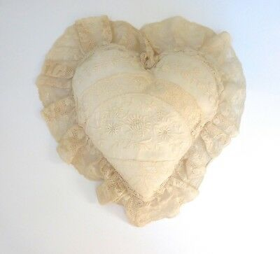 ~Sweet FRENCH Antique NORMANDY Patchwork Net LACE Heart PILLOW