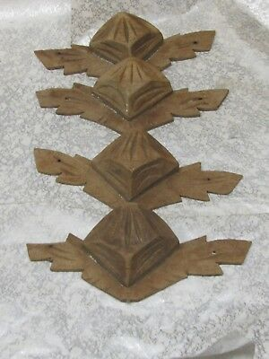 4  Vintage  Hand Carved Walnut Wood Drawer Pulls