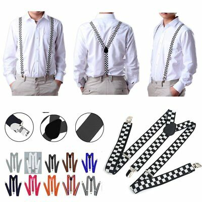 Men Women Elastic Y-Shape Braces Adjustable Clip On Suspender Unisex Cool AB