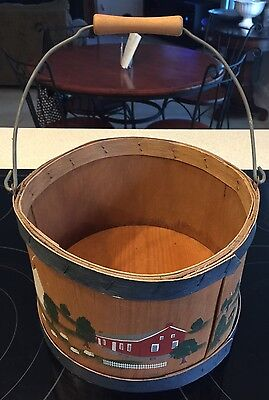 Shaker Style Wood Basket Hand Crafted Painted Scenes Of Pleasant Hill Ky Signed