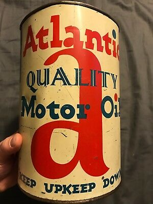 Vintage RARE Atlantic 5 Quart Oil Can Motor Oil Collectible