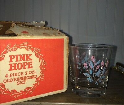 """Set of 4 Vintage Retro Rare """"PINK HOPE""""  Clear Floral  OLD FASHIONED SET W/ Box"""