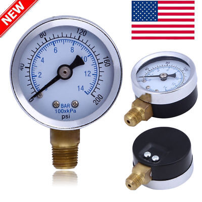 "1/8"" NPT 1.5In Face Air Compressor Hydraulic Pressure Gauge 0-200 PSI Side Mount"