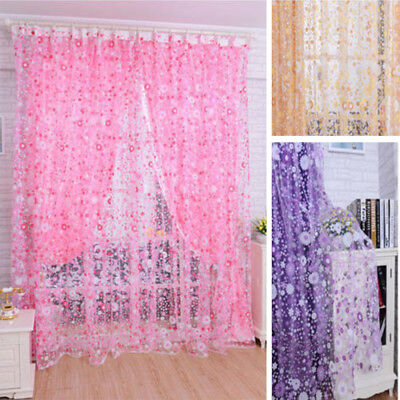 Romantic Door Window Curtain Floral Tulle Voile Drape Panel Sheer Scarf Valances