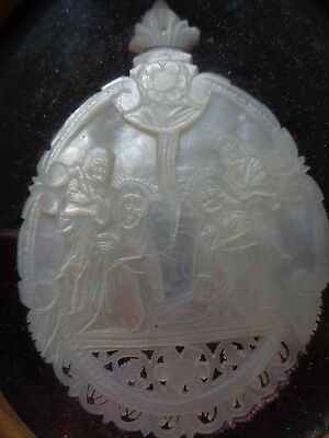 Antique Hand Carved Mother of Pearl Shell Icon Nativity Bethlehem Walnut Frame