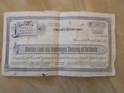 1898 Mexican Land And Improvement Company Of California Stock Certificate Shares