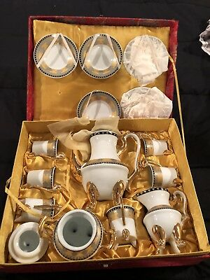 FINE ASIAN PORCELAIN TEA SET With Asian Box. In Box. Missing One Plate