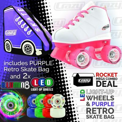 Crazy ROCKET Kids Speed Quad Roller Skates with LIGHT UP Wheels & PURPLE SK8 BAG