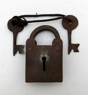 Vintage Hand Made Iron Lock Old Hand Made Unique Spring Lever Lock Collectible