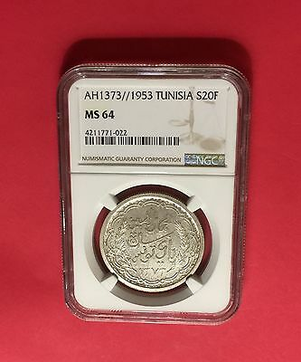 Ah1373//1953 Silver 20 Francs Ngc Ms64 Extra Rare! Low Mintage!