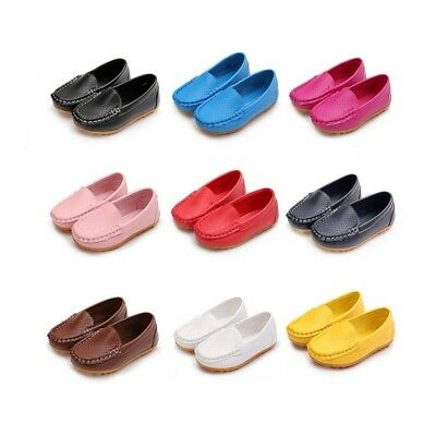 Kid Boys Girls Soft Loafers Oxford Flats Casual PU Boat Shoes Toddler Slip On