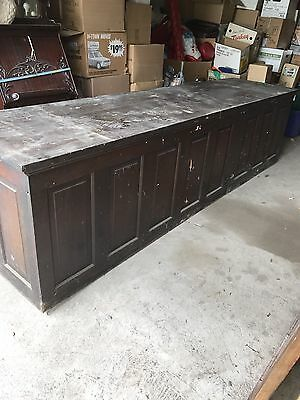 Early General Store Grocery Large Wooden Paneled Counter